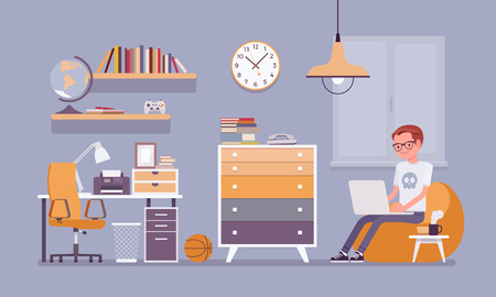 Boy room interior design. Male modern apartment project, teenage private space with furniture and traditional blue decoration to enjoy comfortable living. Vector flat style cartoon illustration Stock Vector - 104820563