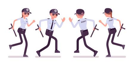 Guardia de seguridad masculino y femenino corriendo. Oficial uniformado o agente protector con batuta. Concepto de seguridad de la ciudad pública y privada. Ilustración de dibujos animados de estilo plano de vector, aislado sobre fondo blanco Ilustración de vector