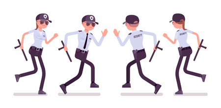 Male and female security guard running. Uniformed officer or protective agent with baton. Public and private city safety concept. Vector flat style cartoon illustration, isolated on white background