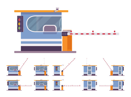 Toll booth with barrier. Gate on road, highway, bridge for car drivers to stop, pay toll. City street beautification, urban design concept. Vector flat style cartoon illustration, different positions