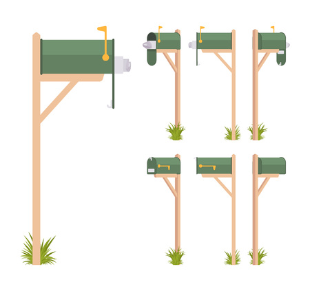 Green mailbox set. Steel box near a dwelling, street corner for mail, to put and get a letter, with indicator. Landscape architecture and urban design concept. Vector flat style cartoon illustration