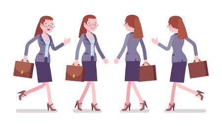 Female teacher walking and running. School, universirty, college worker, at lesson for students. Professional education and learning. Vector flat style cartoon illustration isolated, white background