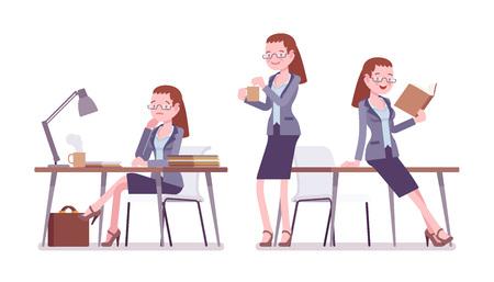 Female teacher working, resting