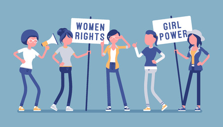 Feminists social movement. Young female people supports feminism with placards, organized activity for women rights and interests, equality of sexes campaign. Vector illustration, faceless characters