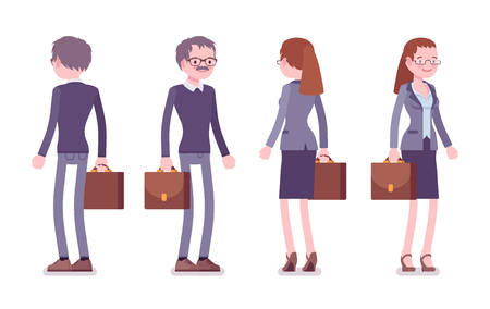 Male and female teacher standing. School, universirty or college worker at the lesson. Professional education and learning concept. Vector flat style cartoon illustration isolated on white background Çizim