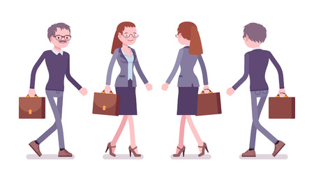 Male and female teacher walking. School, universirty or college worker going at lesson. Professional education and learning concept. Vector flat style cartoon illustration isolated, white background
