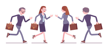 Male and female teacher running. School, universirty or college worker in a hurry at the lesson. Professional education and learning. Vector flat style cartoon illustration isolated, white background