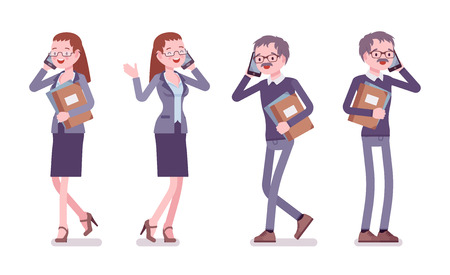 Male and female teacher standing. School, universirty or college worker phone talking. Professional education and learning concept. Vector flat style cartoon illustration isolated on white background