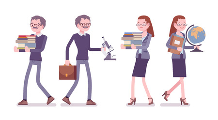 Male and female teacher at work. School, universirty or college worker at the lesson. Professional education and learning concept. Vector flat style cartoon illustration isolated on white background Illustration