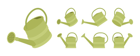 Watering plastic can in green color. Garden portable container, pot to water plants, encourage growth. Vector flat style cartoon illustration, isolated, white background, different positions and view