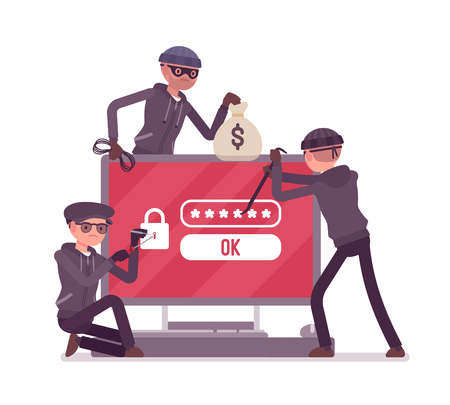 Password hacking danger. Masked men in black cracking, recovering code from computer data, network system, thieves committing crime. Vector flat style cartoon illustration isolated on white background