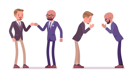 Male partners greeting. Men in fist bump and namaste gesture in meeting ceremonies. Business protocol manners and etiquette concept. Vector flat style cartoon illustration isolated on white background Banque d'images - 111824407