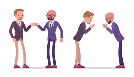 Saluto di partner maschili. Uomini in pugno e gesto di namaste nelle cerimonie di riunione. Modi del protocollo aziendale e concetto di etichetta. Illustrazione del fumetto di stile piano vettoriale isolato su sfondo bianco