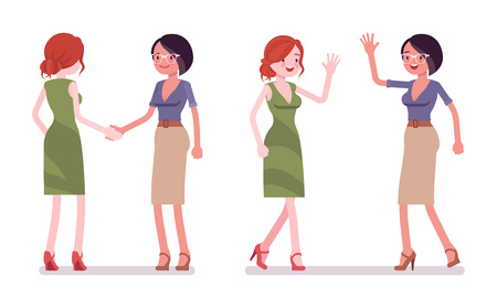 Female friends greeting. Women in handshake and high five gesture, showing respect. Business protocol manners and etiquette concept. Vector flat style cartoon illustration isolated on white background