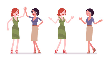 Women friendly greeting. Female friends giving high five and open arms for hug. Business protocol manners and etiquette concept. Vector flat style cartoon illustration isolated on white background