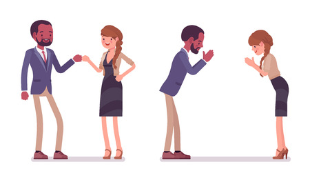 Male and female partners greeting. Black man, white woman, fist bump and namaste gesture. Business manners and etiquette concept. Vector flat style cartoon illustration isolated on white background Banque d'images - 106762458