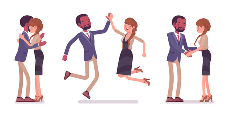 Male, female friends meeting, greeting. Black man, white woman giving hug, high five. Business protocol manners, etiquette concept. Vector flat style cartoon illustration isolated on white background Vettoriali
