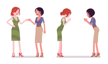 Female partners greeting. Women in fist bump and namaste gesture, meeting ceremony. Business protocol manners and etiquette concept. Vector flat style cartoon illustration isolated on white background