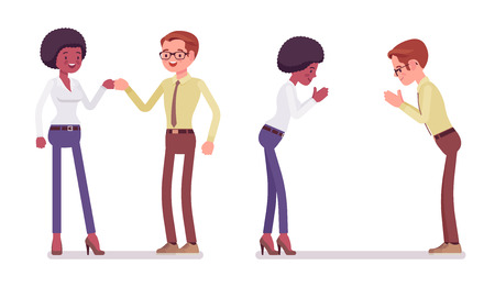 Male and female partners greeting. Black woman, white man, fist bump and namaste gesture. Business manners and etiquette concept. Vector flat style cartoon illustration isolated on white background