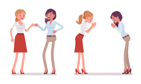 Female partners greeting. Women in fist bump and namaste gesture, meeting ceremony. Business protocol manners and etiquette concept. Vector flat style cartoon illustration isolated on white background Banque d'images - 107080399