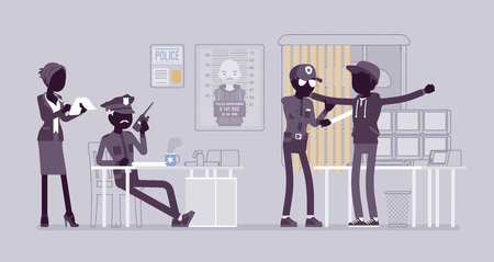 Inspection process. Suspect, guilty of a crime or offence person in office of local police force under examination of policeman. Vector flat style and line art cartoon illustration, black silhouettes