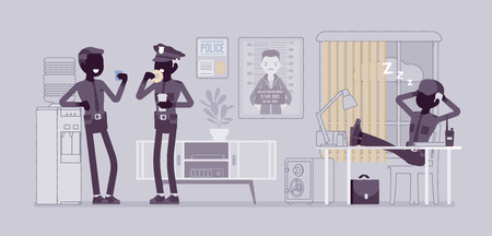 Lunch break in police station. Policemen having chat, meal, eating in office, relax after work, sleep and recover before duty. Vector flat style and line art cartoon illustration, black silhouettes