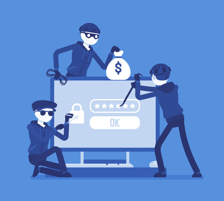 Password hacking danger. Masked men in black cracking, recovering code from computer data, network system, thieves committing crime. Vector illustration, faceless characters