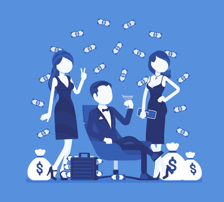 Rich young playboy. Wealthy young handsome man spends time enjoying himself, money and relationships with attractive women. Vector illustration, faceless characters