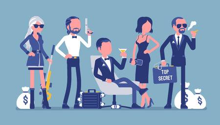 Secret service team. Group of elegant people from espionage department, important division, organization responsible for the safety. Vector illustration, faceless characters