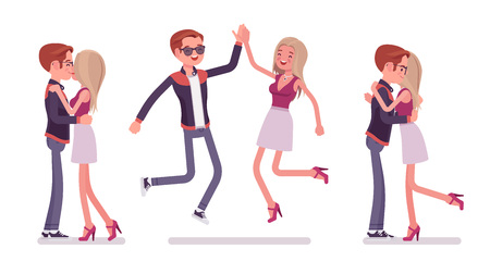 Male, female friends meeting, greeting. Woman, man giving hug, high five, kiss. Social manners, etiquette concept. Vector flat style cartoon illustration isolated on white background