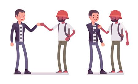 Saluto di amici maschi. Uomini in pugno quando si incontrano. Le buone maniere sociali e il concetto di etichetta. Illustrazione del fumetto di stile piano vettoriale isolato su sfondo bianco