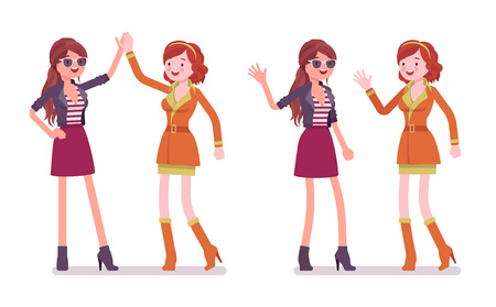 Women friendly greeting. Female close friends giving high five and wave. Social manners and etiquette concept. Vector flat style cartoon illustration isolated on white background Banque d'images - 110374830