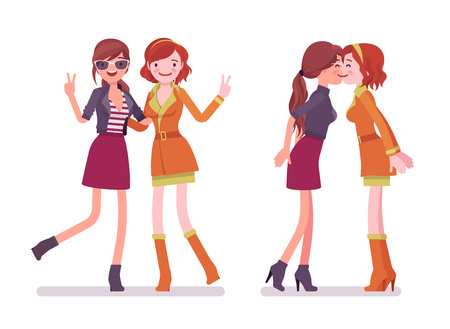 Female close friends greeting. Glamour women together, meeting. Social manners and etiquette concept. Vector flat style cartoon illustration isolated on white background