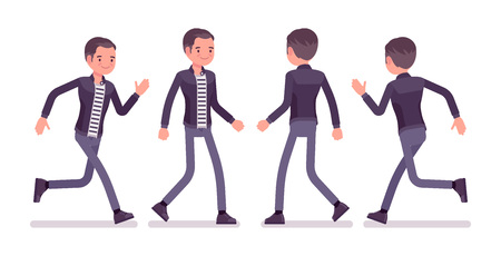 Young man running and walking. Caucasian millennial boy wearing city clothing and accessories in a hurry at study or work. Vector flat style cartoon illustration, front and rear view
