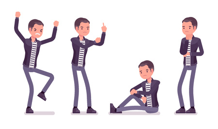 Young man negative emotions. Unhappy caucasian millennial boy feeling sad or having a depressed mood, cannot enjoy life, wearing city clothing and accessories. Vector flat style cartoon illustration