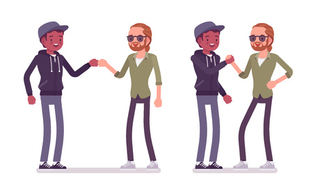 Male friends greeting. Men, black and red-haired, in fist bump when meeting. Social manners and etiquette concept. Vector flat style cartoon illustration isolated on white background  イラスト・ベクター素材