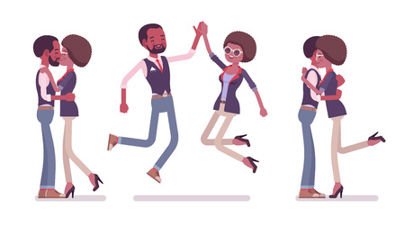Male, female black friends meeting, greeting. Woman, man giving hug, high five, kiss. Social manners, etiquette concept. Vector flat style cartoon illustration isolated on white background
