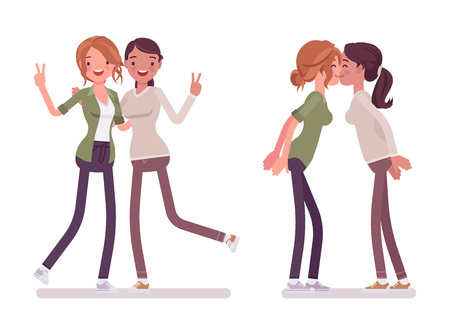 Female close friends greeting. Happy women together, meeting. Social manners and etiquette concept. Vector flat style cartoon illustration isolated on white background Illustration