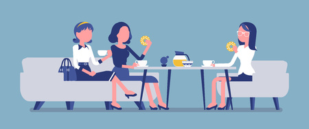 Girls enjoy friendly dinner in cafe. Meeting between female coworkers, business lunch in restaurant, young friends chatting and have meal. Vector illustration, faceless characters Ilustração