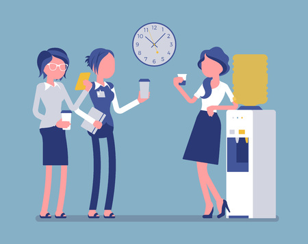 Office cooler chat. Young female workers having informal conversation around a watercooler at workplace, colleagues refreshing during a break. Vector illustration, faceless characters
