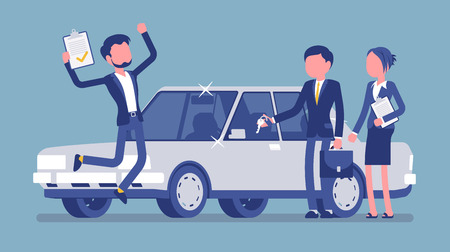 Car loan approved. Happy young man exited when got a bank authorization, customer and agents after document acceptance, jumping with joy to get a new auto. Vector illustration, faceless characters Illustration