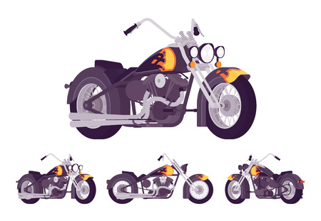 Chopper custom motorcycle bright black set. Motor vehicle, big, heavy machine in classic design with flame and fire print. Vector flat style cartoon illustration isolated on white background Vector Illustration