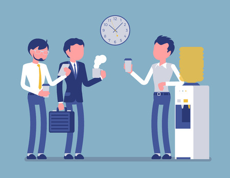 Office cooler chat. Young male workers having informal conversation around a watercooler at workplace, colleagues refreshing during a break. Vector illustration, faceless characters