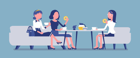 Girls enjoy friendly dinner in cafe. Meeting between female coworkers, business lunch in restaurant, young friends chatting and have meal. Vector illustration, faceless characters Imagens