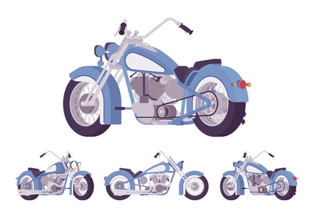 Chopper custom motorcycle bright blue set. Motor vehicle, big, heavy machine in classic design for extrme sport and city enjoyment. Vector flat style cartoon illustration isolated on white background