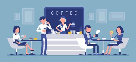 Cafe Shop und Leute entspannen. Modernes Interieur zum Treffen, Trinken und Essen, Plaudern, Ausruhen, Genießen der Freizeit, Barista-Mädchen kocht Kaffee für die Öffentlichkeit. Vektorillustration mit gesichtslosen Zeichen