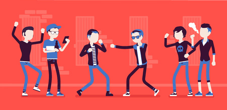 Young men take part in a violent street struggle, group of guys watching boxing contest between angry boys, aggressive hand-to-hand combat in public. Vector illustration, faceless characters Vettoriali