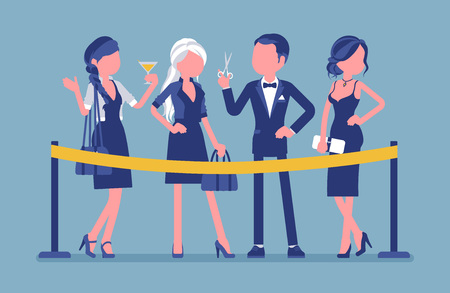 Cutting the red ribbon ceremony. Group of elegant people at official opening event, new business beginning, formal public occasion and festive party start. Vector illustration with faceless characters