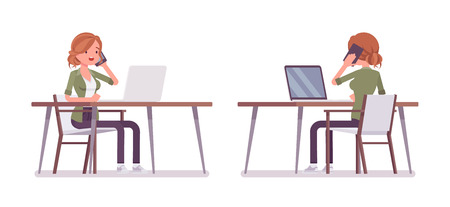 Young red-haired woman sitting and working at the desk. Caucasian attractive girl with ginger hairstyle, self-employed lady at the laptop. Vector flat style cartoon illustration, front and rear view