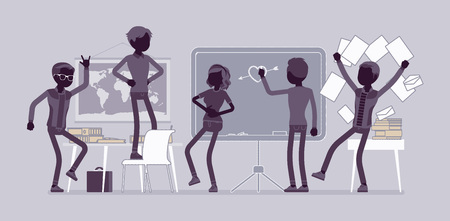Students behaving badly in a classroom, making fun, mess and trouble, misconduct pupils disorganizing school learning process. Vector flat style and line art cartoon illustration, black silhouette Фото со стока - 109624333